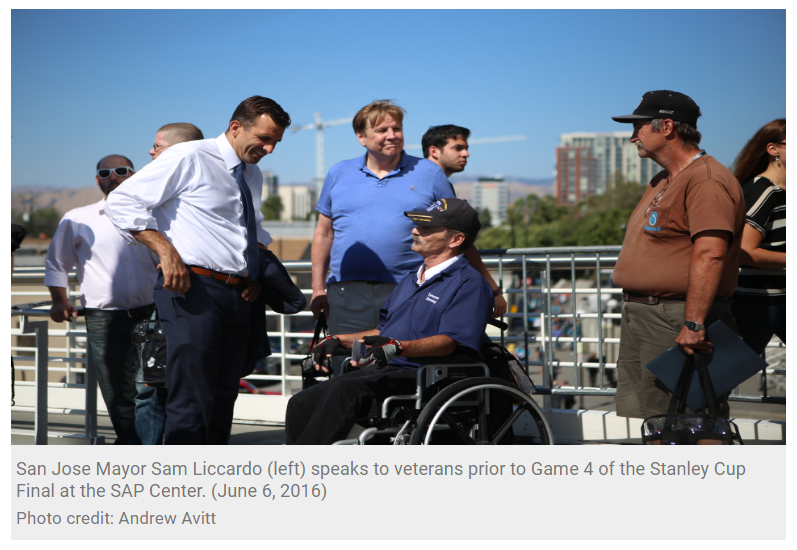 San Jose Mayor Helps Veterans Attend Sharks Stanley Cup Final Game NBC Bay Area (1)
