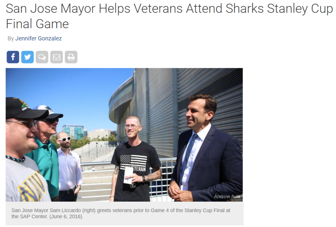 San Jose Mayor Helps Veterans Attend Sharks Stanley Cup Final Game NBC Bay Area